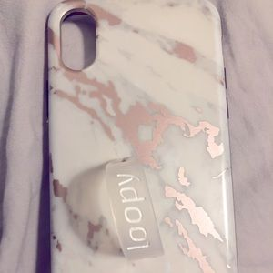 White Marble with Rose Gold Loopy Case IPhone X